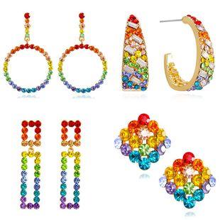 Pendientes de diamantes de corazón de niña de siete colores Pendientes de estudiante de niña arcoiris NHHT199552's discount tags
