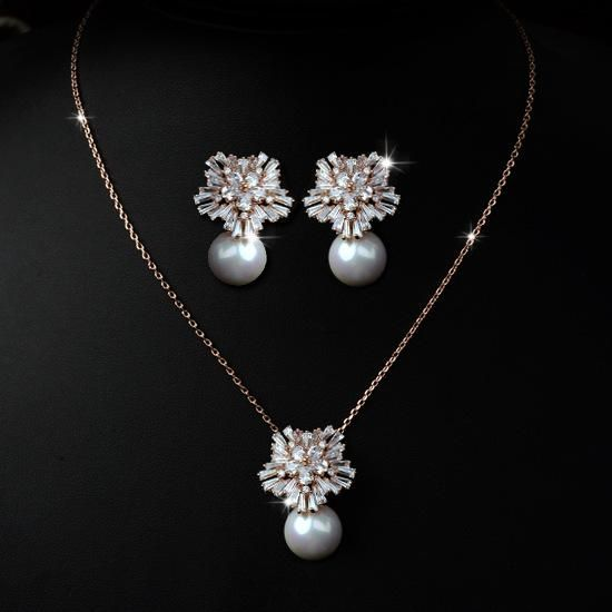 Fashionable Simple Zircon Mosaic Elegant Necklace Earring Jewellery Set NHLJ199556