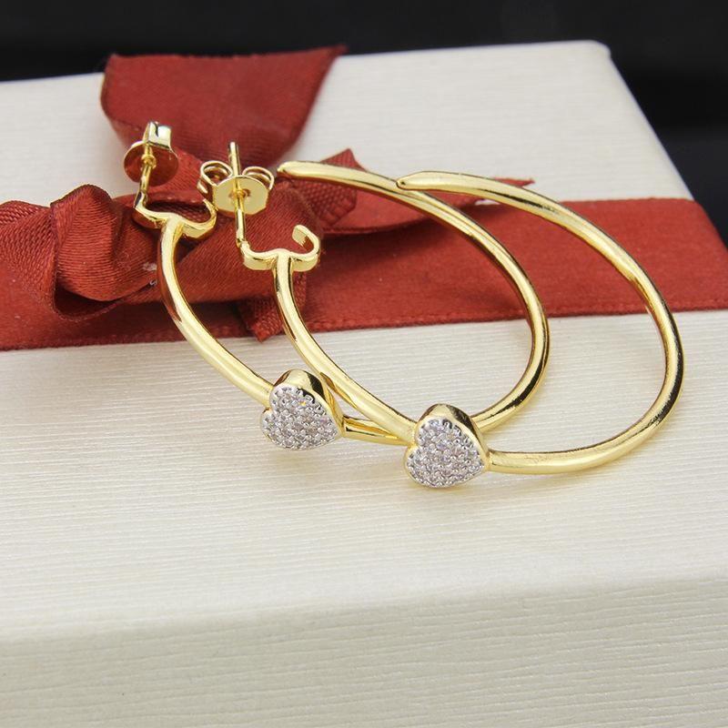 Nihaojewelry New Fashion Copper Plating Heart Shaped Zirconium Earrings Earrings NHBP199562