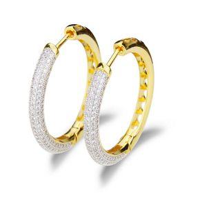 Nihaojewelry nueva moda cobre electrochapado zirconio hueco redondo aretes pendientes NHBP199563
