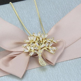 Fashion Ladder Cubic Zirconia Tree Pendant Fashion New Copper Plated Life Tree Necklace NHBP199564