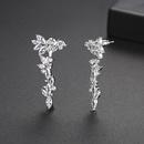 Fashion new creative womens long copper studded zirconium earrings NHTM199581
