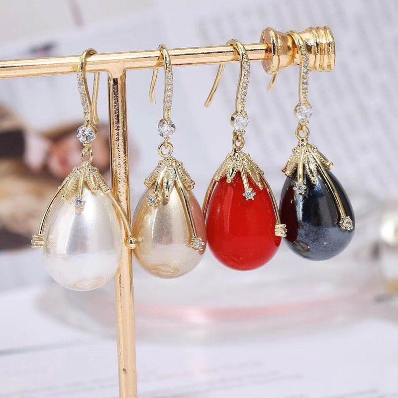 Fashion Long Drop Earrings Wholesale Sweet Earrings Micro-Set Zircon Earrings NHWK199589