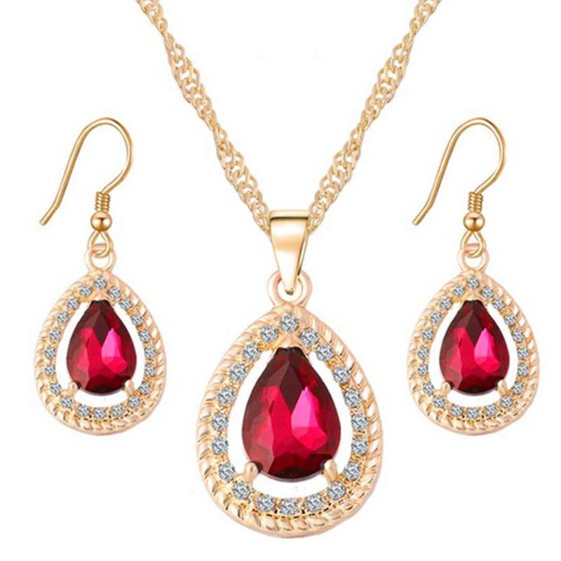 Fashion Water Drop Pendant Crystal Sweater Necklace Earring Jewelry Set Women's Necklace NHPJ199591