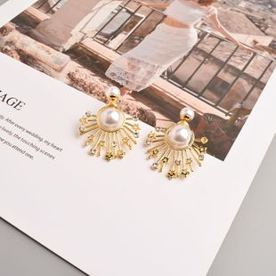 Fashion 925 Silver Exaggerated Irregular Earrings Short Diamond Earrings Pentagram Geometric Pearl Earrings NHYT199595's discount tags