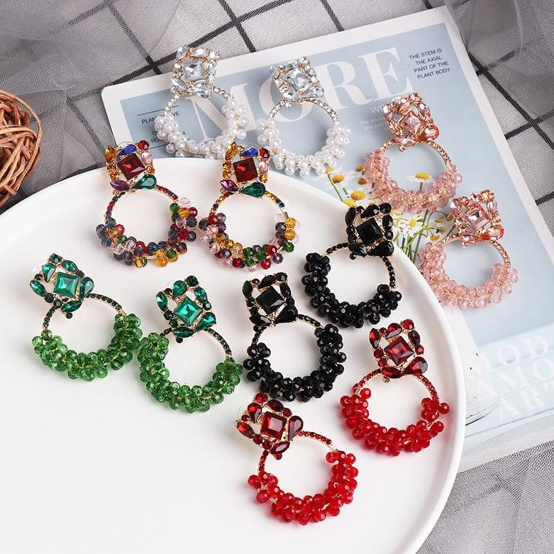 Simple diamond winding pearl earrings French earrings geometric diamond earrings women NHJJ199598