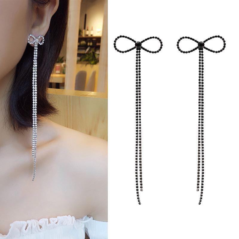 Fashion bow earrings women tassel exaggerated ear jewelry s925 silver earrings NHDO199615
