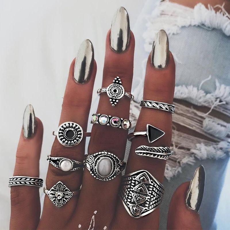 Fashion Ring Retro Ethnic Exaggerated Gem Set Ring NHPJ199626