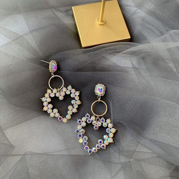 Fashion 925 Silver Needle Korean New Rhinestone Love Earrings Pop Fashion Long Exaggerated Earrings NHMS199630