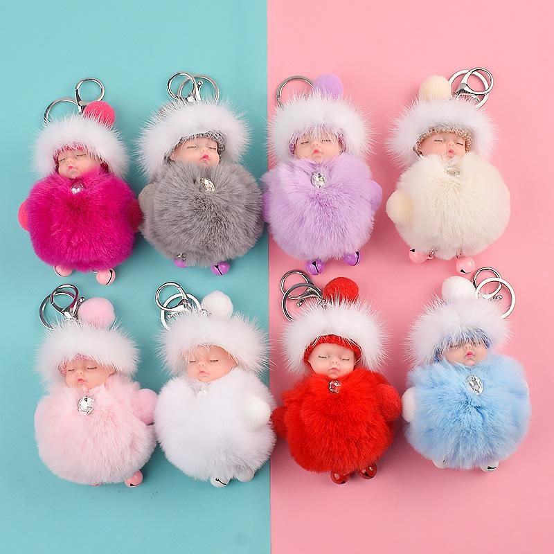 New cartoon cute mink fur ball dream doll bell keychain bag pendant creative gift NHCB199156
