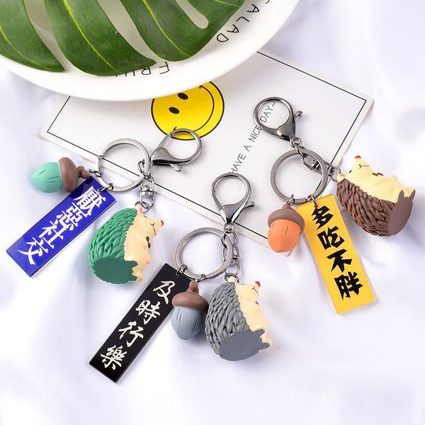 New fashion personality plate trend hedgehog animal keychain male and female students backpack car craft key pendant NHCB199167
