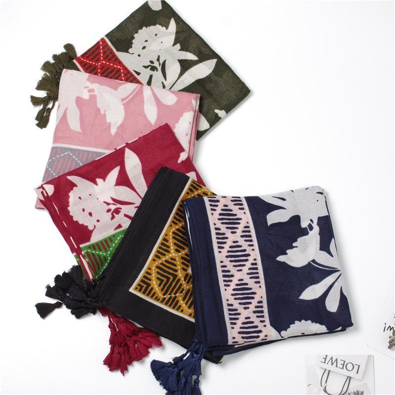 New gauze summer scarf scarf sunscreen beach towel leaf flower cotton linen scarf shawl dual-use NHGD199180