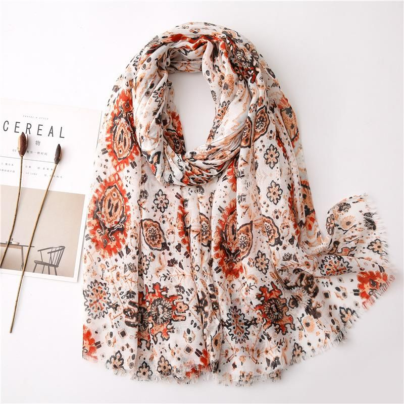 Scarf female thin section cotton and linen feel small flower wild shawl scarf NHGD199185