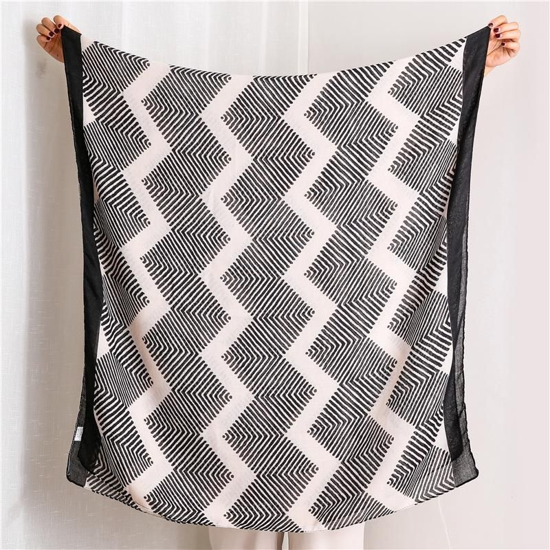 Simple style artistic scarf female Korean version of the wild black geometric rhombus line long shawl NHGD199190