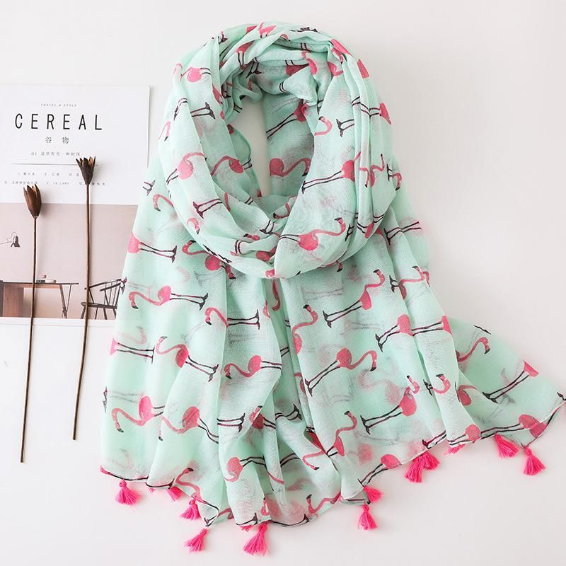 Flamingo cotton and linen scarf long section seaside travel fashion wild air-conditioned shawl NHGD199191