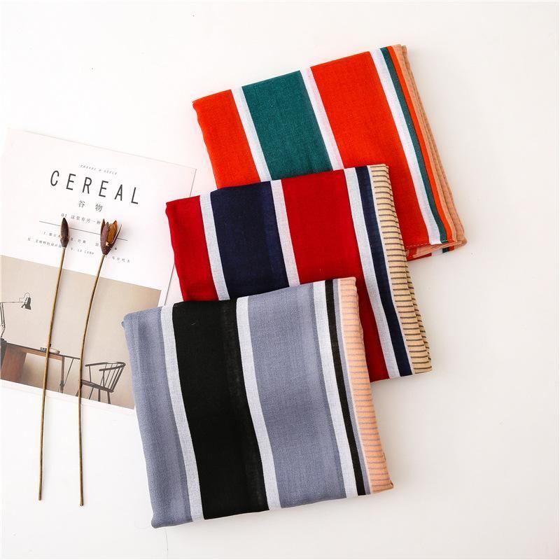 Simple scarf female Korean version of the wild black geometric rhombus line long shawl NHGD199192