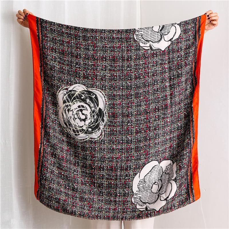 Cotton and linen scarf women's elegant floral scarf shading air conditioning shawl long scarf NHGD199198