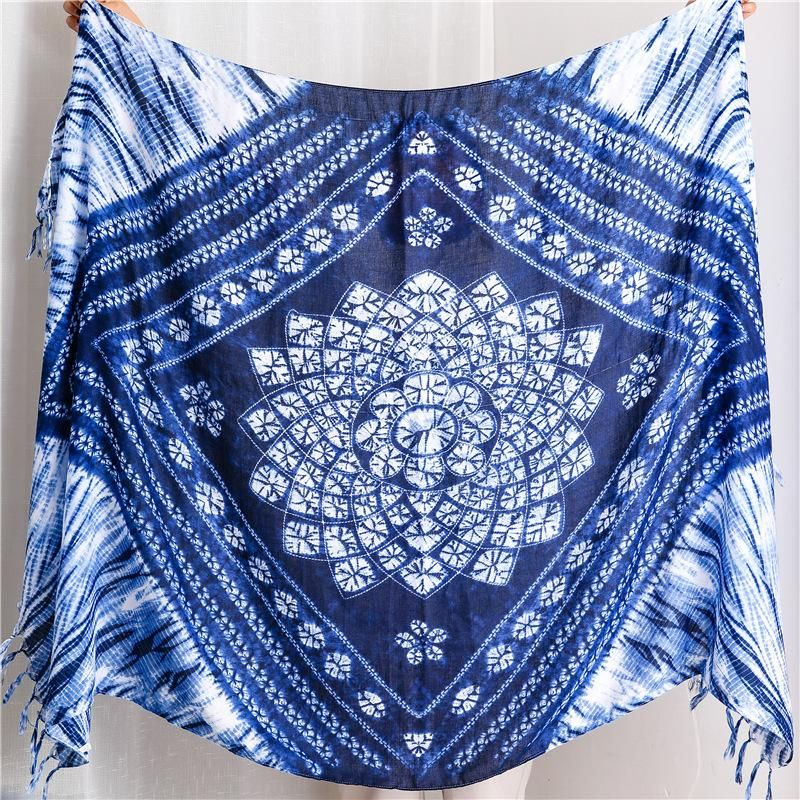 New national style handmade tie-dye blue and white porcelain cotton and linen scarf travel shawl wholesale NHGD199200