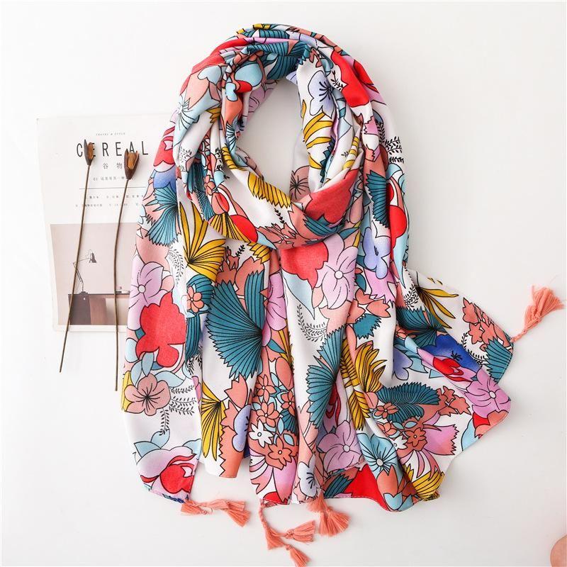 Scarf oversized sun shawl summer long section silk scarf ladies wild beach gauze beach towel NHGD199202