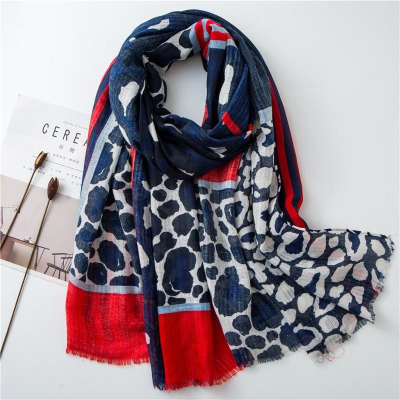 Cotton and linen scarf girls jumping Korean Korean blue leopard striped raw long shawl NHGD199206
