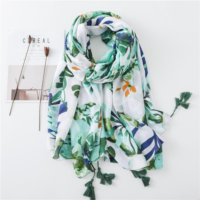 Summer cotton and linen shawl leaves flowers tassel printing travel seaside holiday sunscreen scarf beach towel women NHGD199207