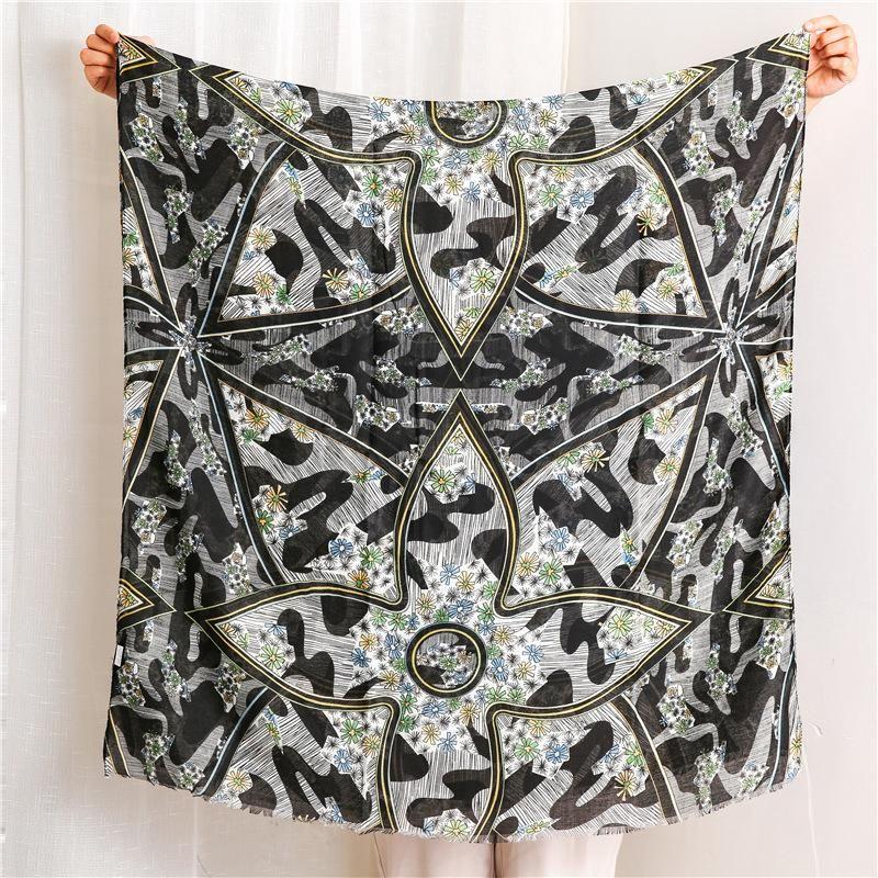 Simple scarf female Korean wild black geometric rhombus line long shawl wholesale NHGD199210