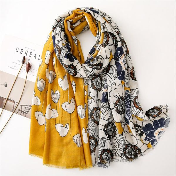Cotton and linen scarf female hot silver flower long shawl wholesale NHGD199213