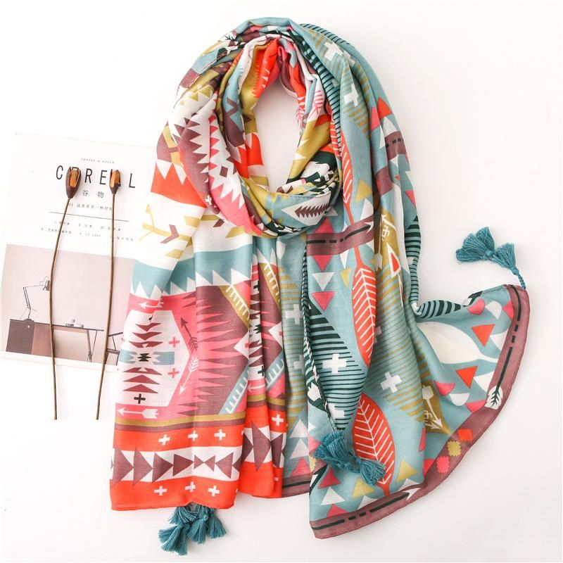 Cotton and linen scarf in spring and summer new color geometric rhombus hit color shawl dual-use sunscreen NHGD199214