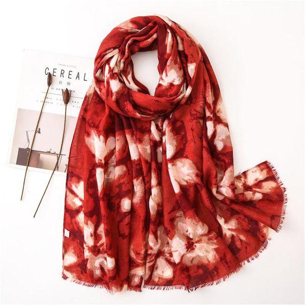 New rendering splash ink painting flower pattern scarf women's silk scarf edging cotton linen shawl travel sun protection NHGD199216