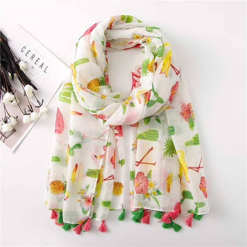 Women's bohemian national style flamingo scarf oversized cotton linen silk scarf sun shawl NHGD199218