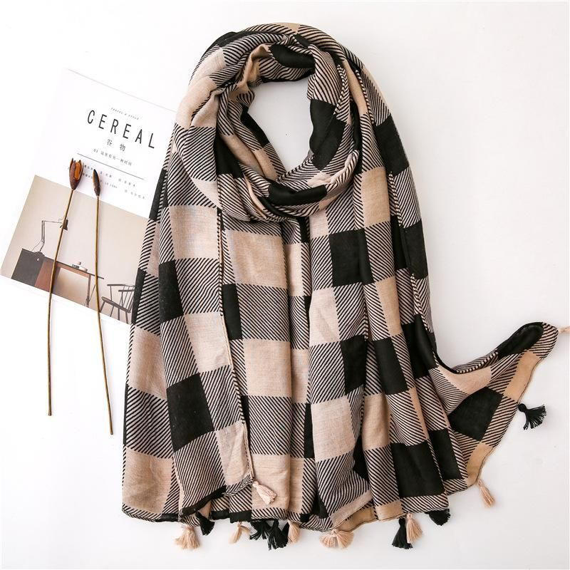 Cotton and linen scarf female wild classic plaid summer long travel shawl NHGD199219
