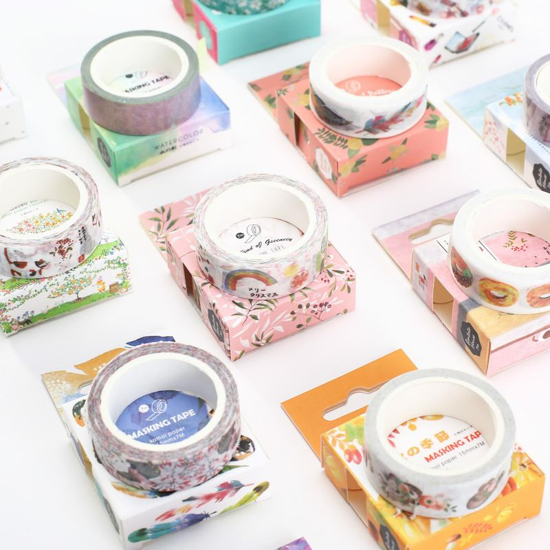 Paper tape original Japanese style watercolor hand account tape photo album diary decoration diy color tape NHZE199240