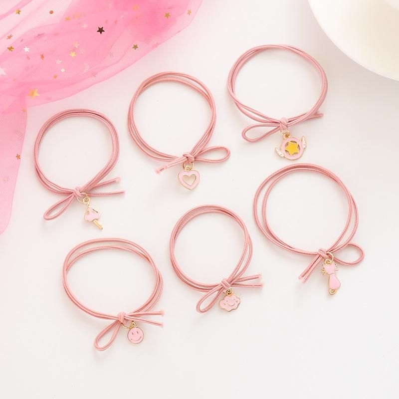 Nihaojewelry Cartoon girl heart hair circle simple tie hair rubber band head rope wild hair accessories NHZE199241