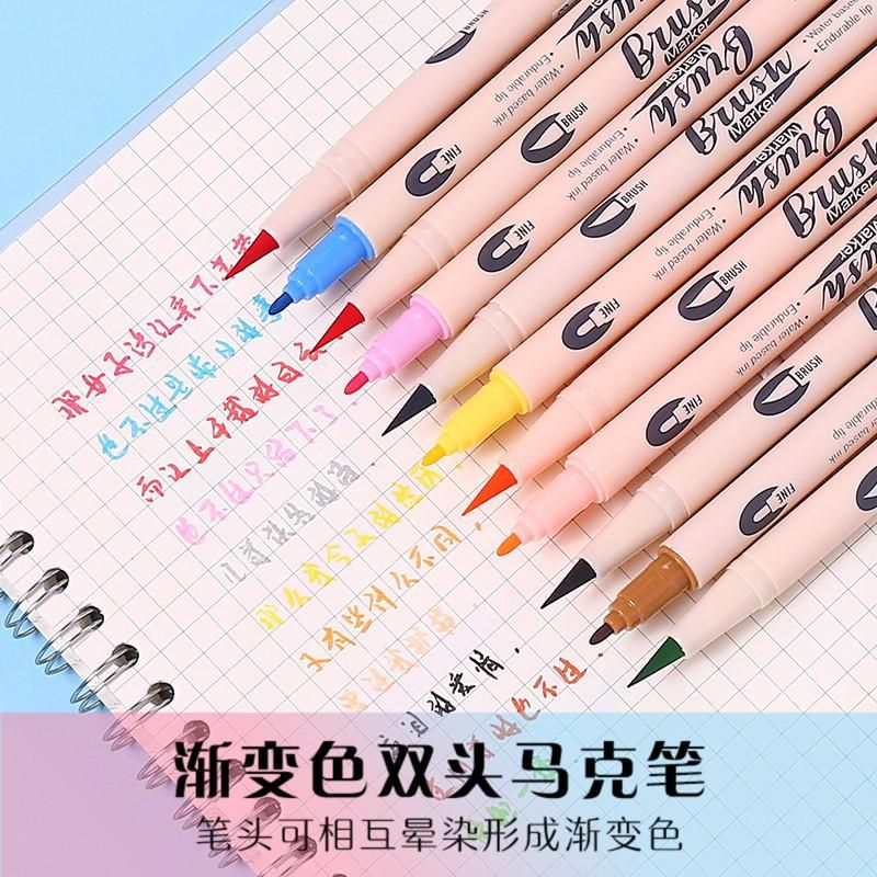 Soft and hard double-headed water-based marker pen watercolor pen gradient color student painting graffiti poster calligraphy hand account NHZE199251