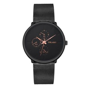 New ultra-thin men's alloy mesh belt watch YOLAKO fashion fake three eye three needle business watch men NHSY199304's discount tags