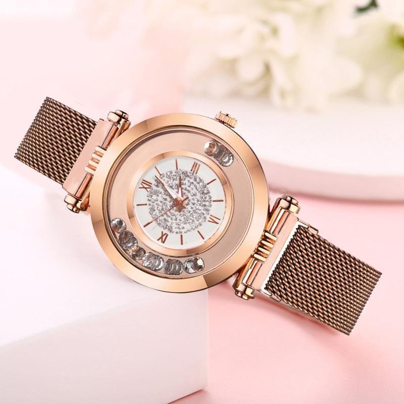 Glitter Roman Scale Quartz Magnet Watch New Ladies Fashion Watch Milan Bracelet Watch NHSY199324