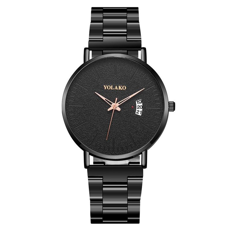 Simple Steel Band Men's Business Watch Fashion Gun Black Steel Band Calendar Quartz Watch NHSY199325