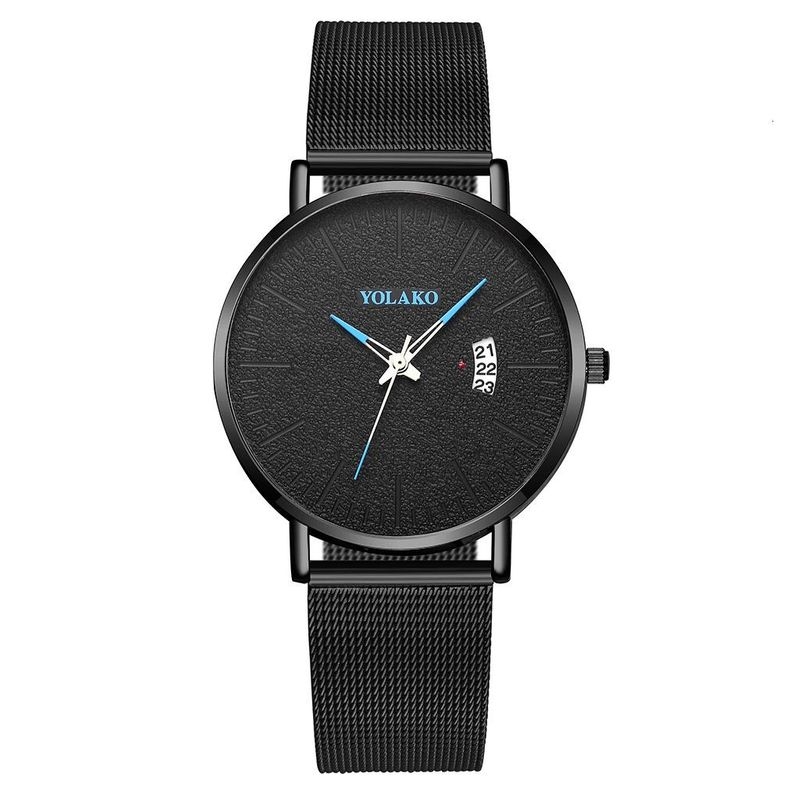 Simple Mesh Belt Men's Business Watch Fashion Gun Black Mesh Belt Calendar Quartz Watch NHSY199326