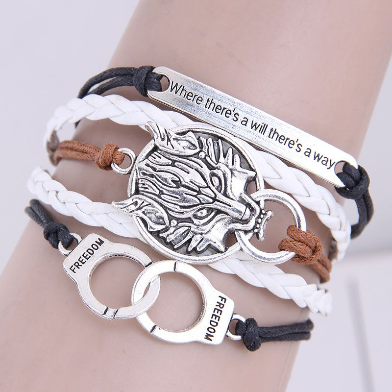Retro creative handcuffs lion shield wild combination alloy accessories handmade multilayer woven bracelet NHSC199668