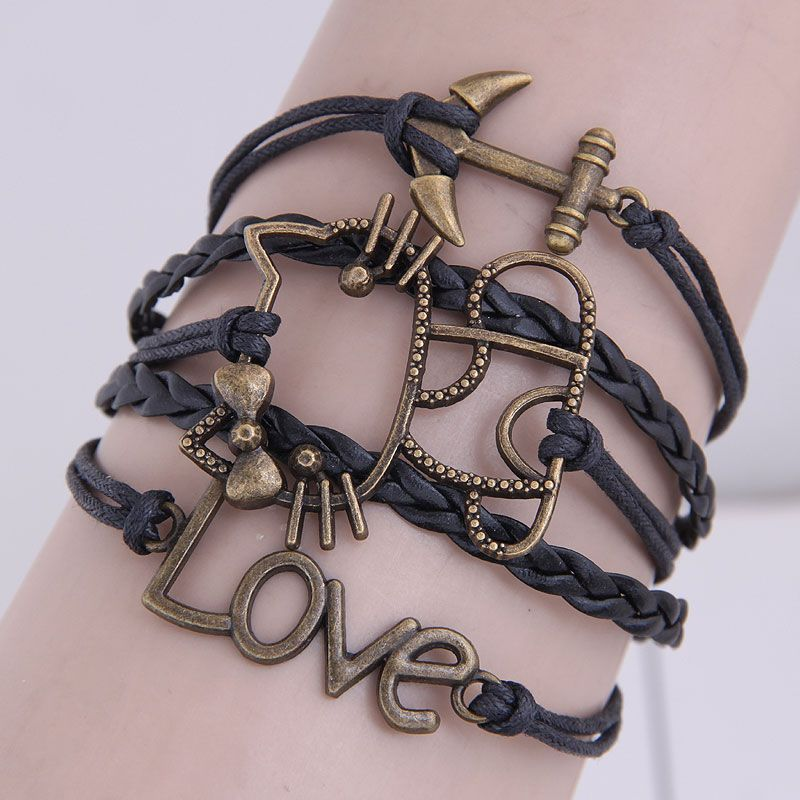 Retro creative anchor cat love wild combination alloy accessories handmade multilayer woven bracelet NHSC199672