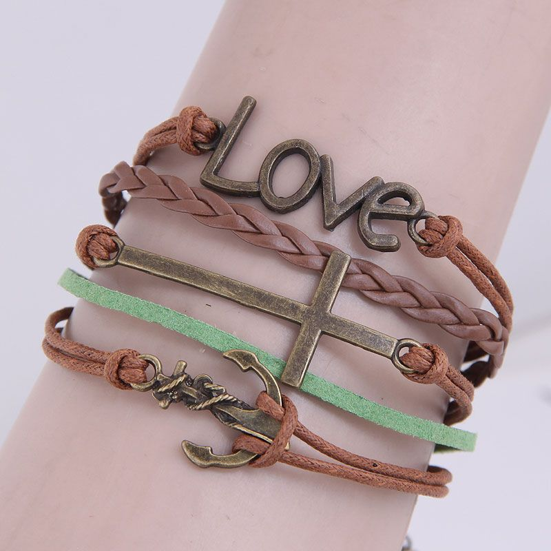 Retro creative anchor cross love wild combination alloy accessories handmade multilayer woven bracelet NHSC199670