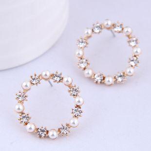 Boutique de moda coreana Sweet Wild Pearl Flash Diamond Pendientes simples NHSC199639's discount tags
