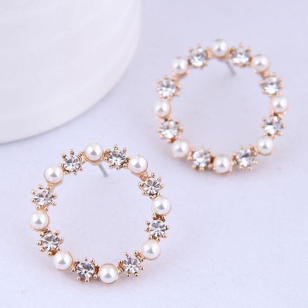 Boutique Korean Fashion Sweet Wild Pearl Flash Diamond Simple Earrings NHSC199639