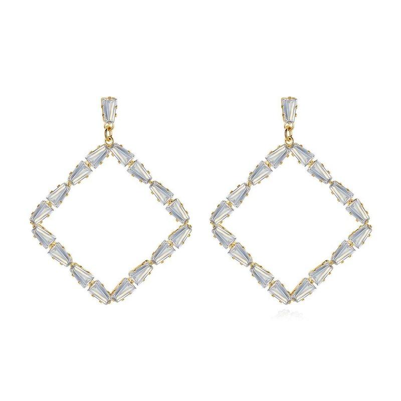 Fashionable Korean temperament square ladies earrings earrings banquet atmosphere copper inlaid zirconium earrings NHTM199578