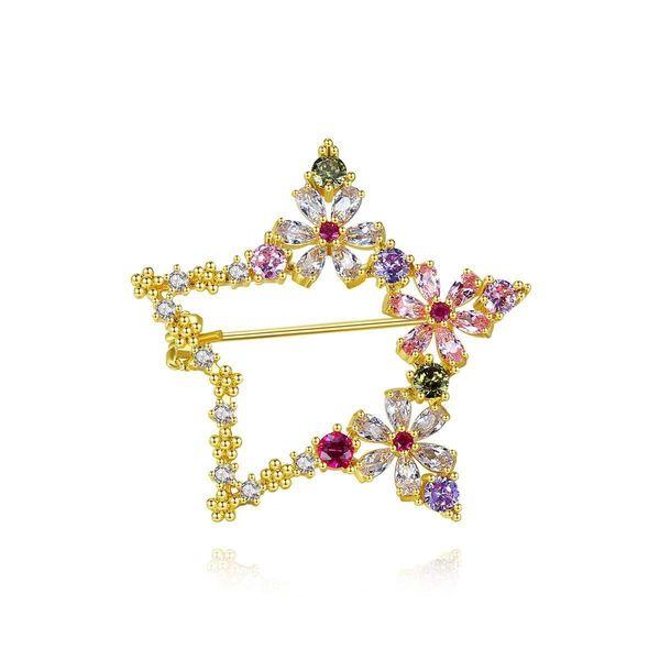 Korean fashion new color female pentagonal copper zirconium brooch accessory NHTM199575