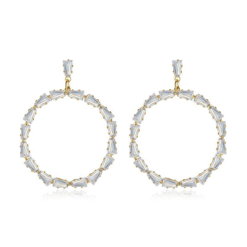 Simple round Korean temperament female models copper earrings with zirconium earrings banquet earrings NHTM199579
