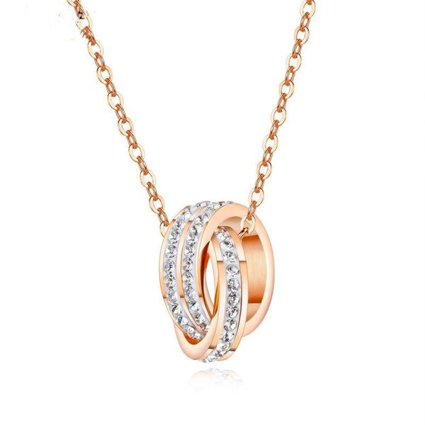 Fashion double ring circle necklace female rose gold plated diamond clavicle chain necklace NHOPK199571