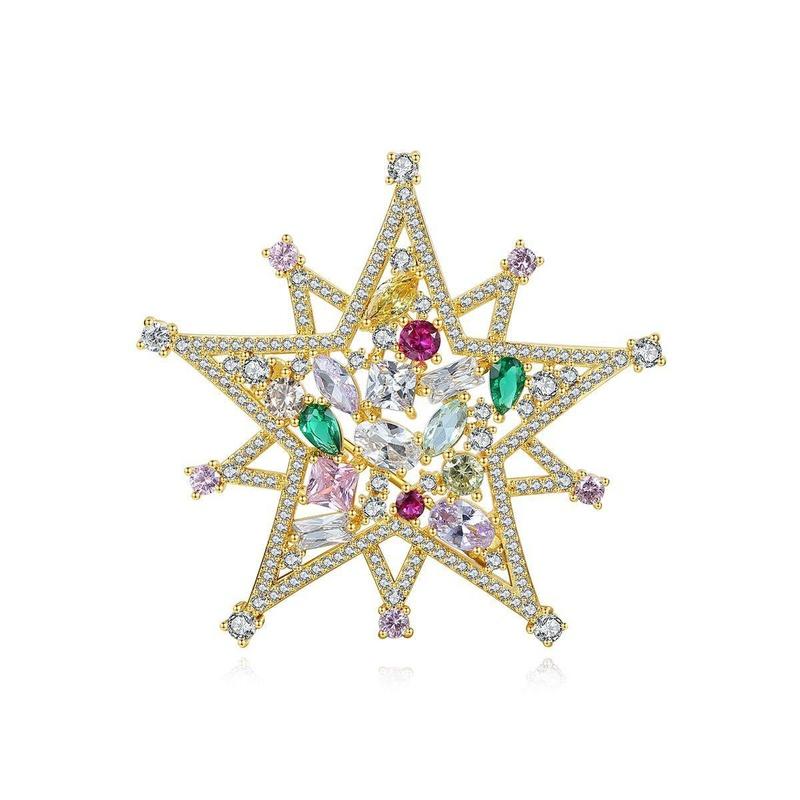 Korean temperament new brass zirconium brooch pentagram star pin NHTM199515