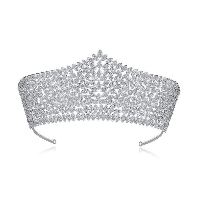 Fashion bride ladies banquet hair hoop pavé hollow copper inlaid zirconium hair accessory gift NHTM199520
