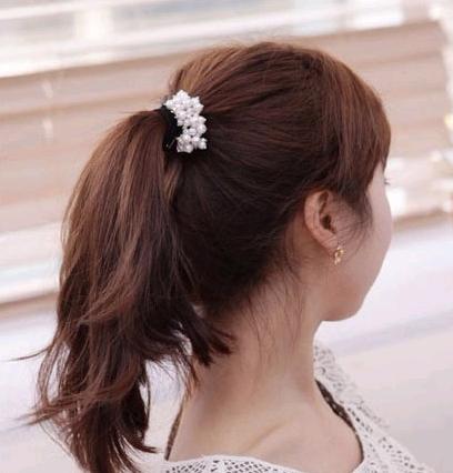 Korean fashion sweet wild ball bud pearl hair rope elastic hair accessories hair rope NHSC204343